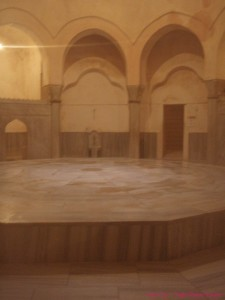 The traditional heated platform covered with marble stone. at Cemberlitas Hamami, Istanbul, Turkey